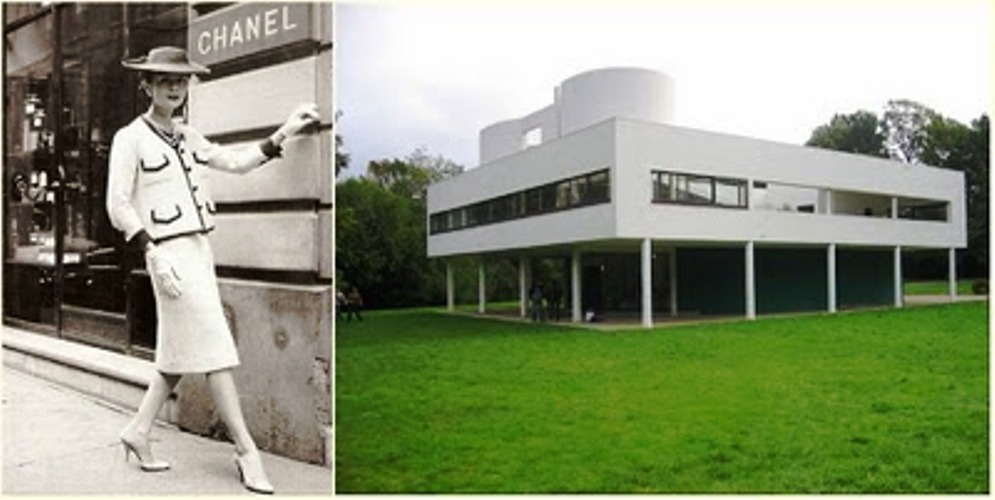 Coco Chanel e as linhas sóbrias de Le Corbusier. Fonte: Pinterest.